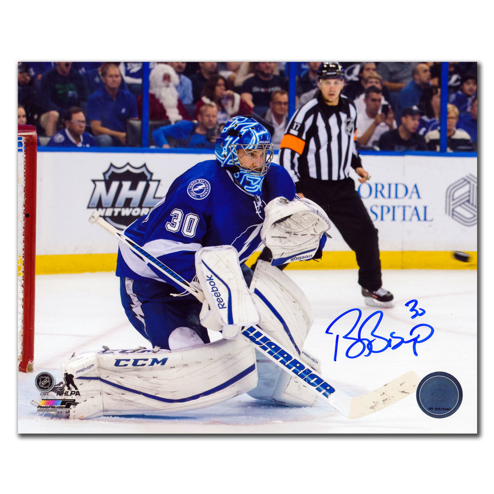 Ben Bishop Tampa Bay Lightning EYE ON THE PUCK Autographed 8x10