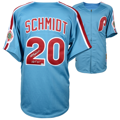 Photo of Mike Schmidt Philadelphia Phillies Autographed Mitchell & Ness Authentic Light Blue 1983 Jersey Inscription with HOF 95 Inscription