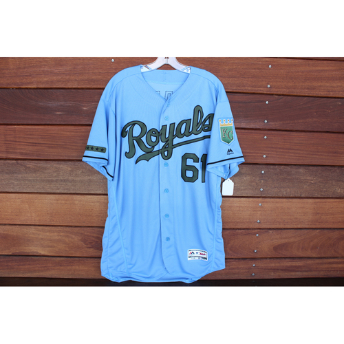 Photo of Game-Used Memorial Day Jersey: Kevin McCarthy (Size 46 - MIN @ KC - 5/28/18)
