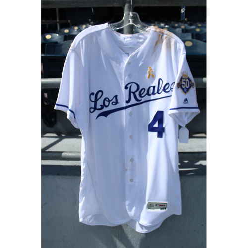 Photo of Game-Used Los Reales Jersey: Alex Gordon (Size 46 - BAL @ KC - 9/1/18)