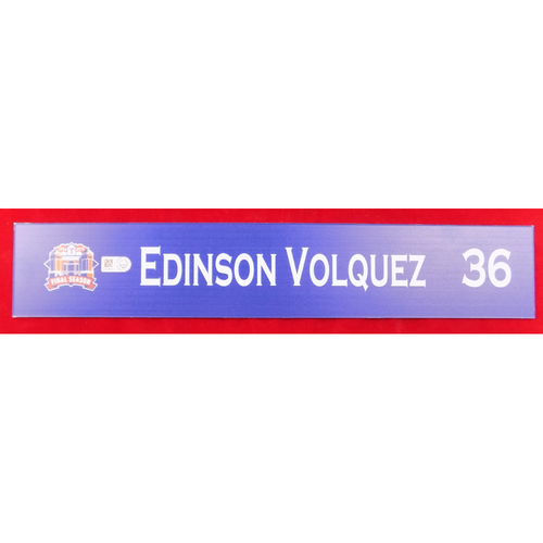 Photo of Final Season Game-Used Locker Tag - Edinson Volquez - 9/13/19 vs OAK