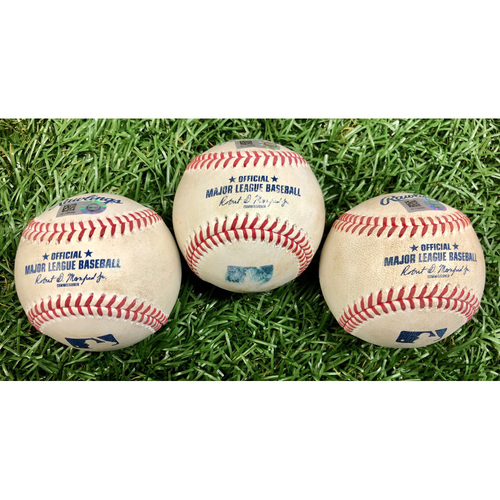 Photo of Game Used Baseball Package: Michael Perez, Kevan Smith and Yoshitomo Tsutsugo - September 27, 2020 v PHI