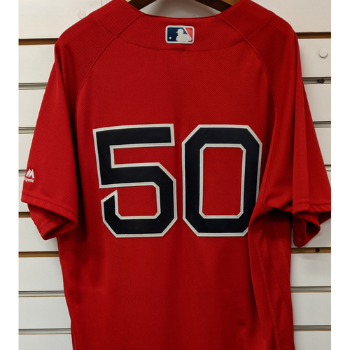 Photo of Mookie Betts #50 Game Used Red Home Alternate Jersey
