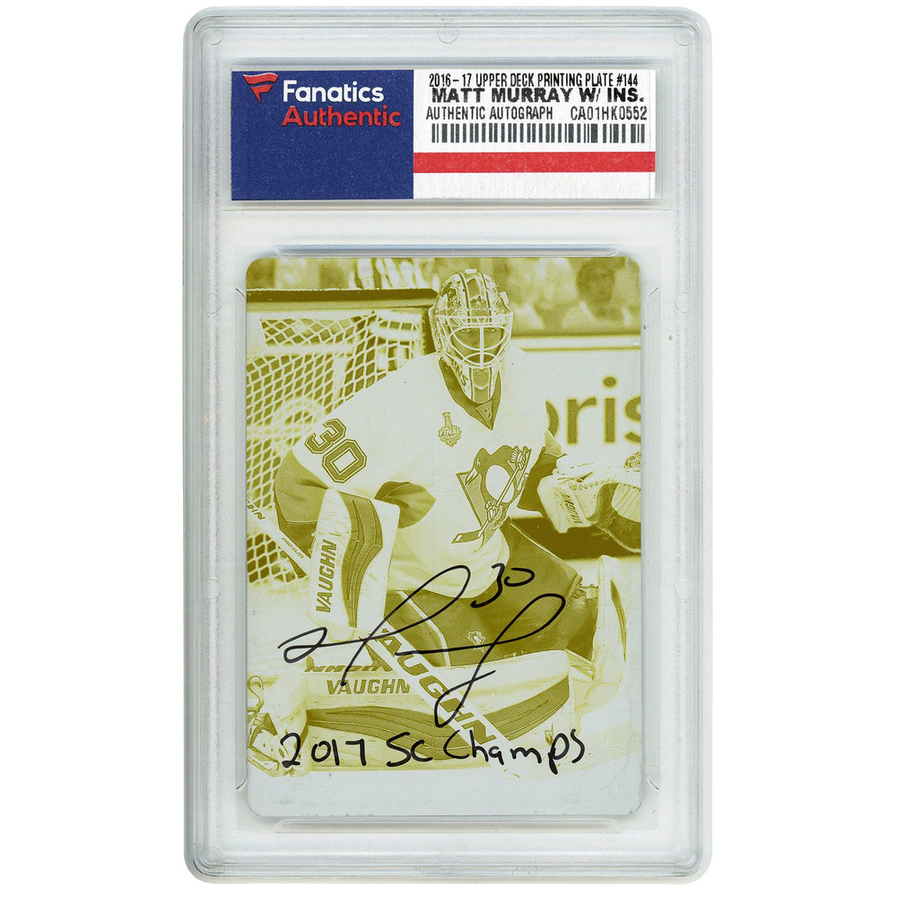 Matt Murray Pittsburgh Penguins Autographed 2016-17 Upper Deck Yellow Printing Plate #144 Card with 2017 SC Champs Inscription Limited Edition of 1