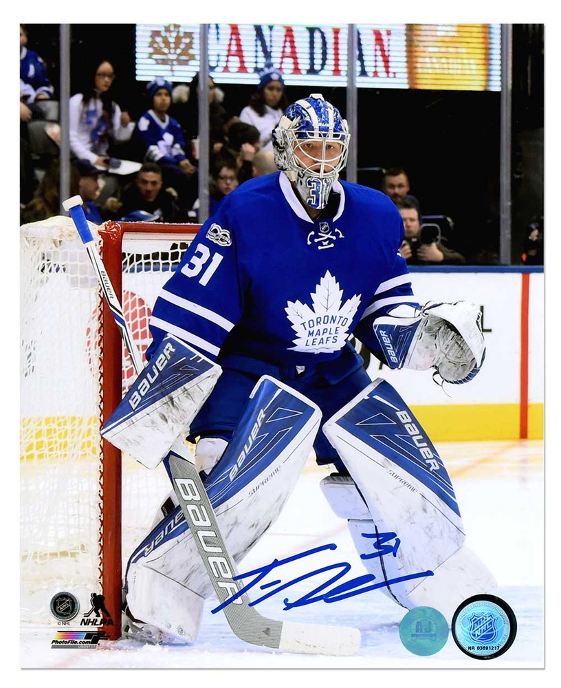 Frederik Andersen Toronto Maple Leafs Autographed Action 8x10 Photo