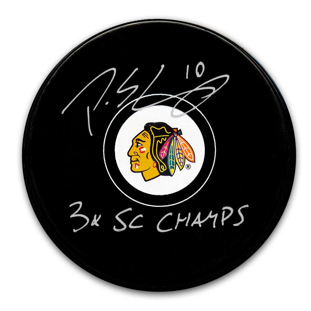Patrick Sharp Chicago Blackhawks 3x SC Champs Autographed Puck