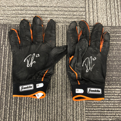 Photo of San Francisco Giants - Team Issued Autographed Batting Gloves - used by #14 Ryder Jones