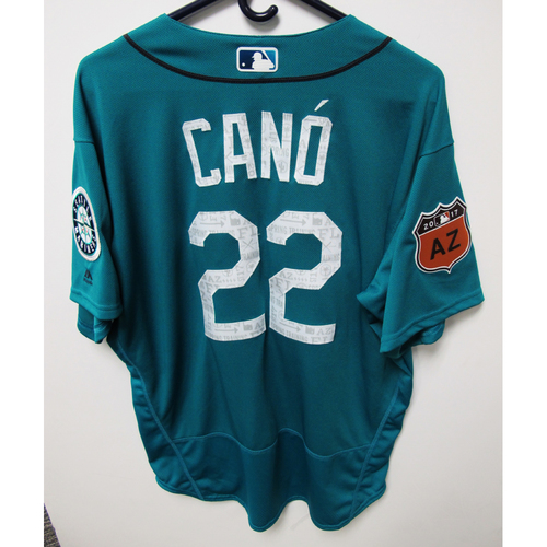 Photo of Seattle Mariners Robinson Cano Team Issued 2017 Spring Training Green Jersey