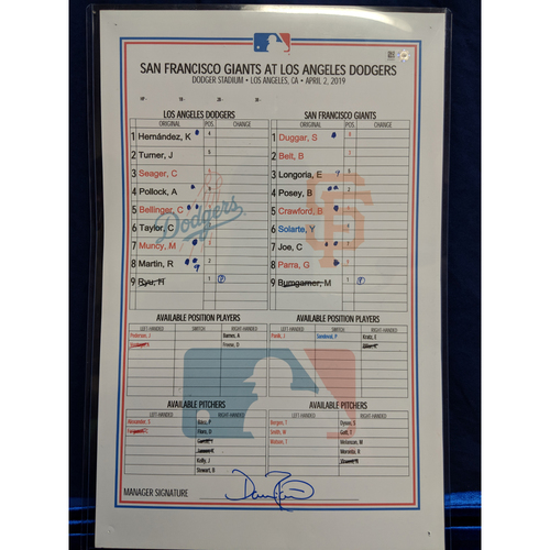 Photo of Game Used Lineup Card - Giants vs. Dodgers - 4/2/19