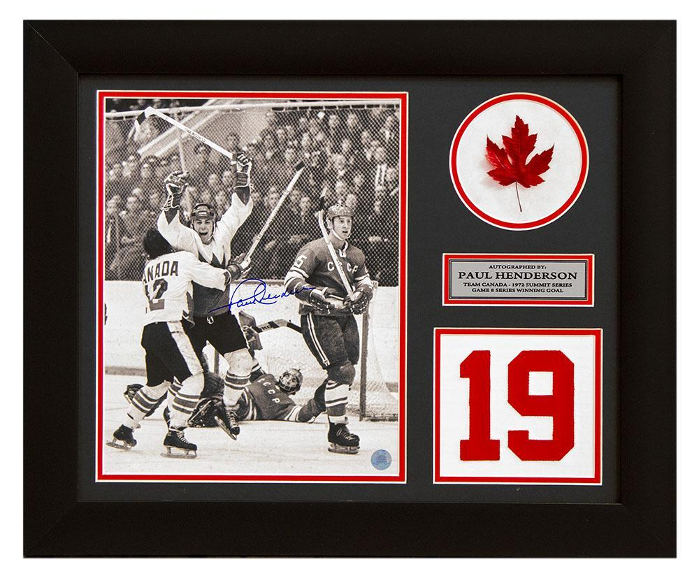 Paul Henderson Team Canada Autographed Summit Series Jersey Number 20x24 Frame