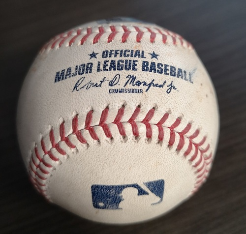 Photo of Authenticated Game Used Baseball: Single by Danny Jansen, Single by Bo Bichette, Single by Cavan Biggio and 2 RBI Single by Vladimir Guerrero Jr. against Ryan Weber (Sept 11, 19 vs BOS). Bottom 5.