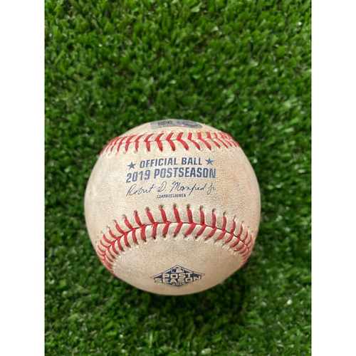 Photo of Game Used Baseball- Pitcher: Mike Foltynewicz, Batter: Dexter Fowler, Strikeout - 10/4/2019 NLDS Game 4