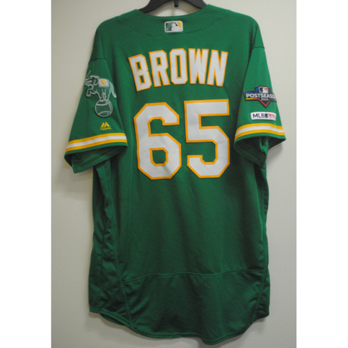 Photo of Seth Brown Game-Used Kelly Green AL Wild Card Game Jersey