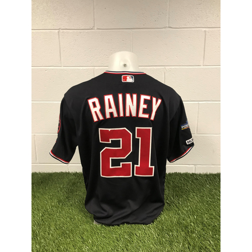 Photo of Game-Used Tanner Rainey 2019 Navy Script Jersey with Postseason Patch