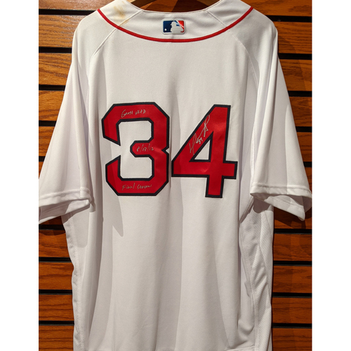 Photo of David Ortiz #34 Autographed Game Used Home White Jersey