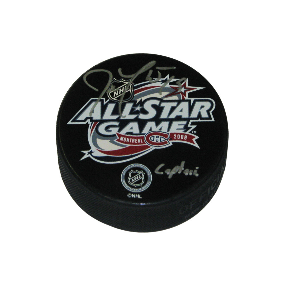 JOE THONRTON Signed 2009 NHL All Star Puck - Inscribed