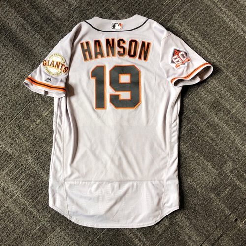 Photo of San Francisco Giants - Mother's Day Game-Used Jersey - #19 Alen Hanson (size 44)