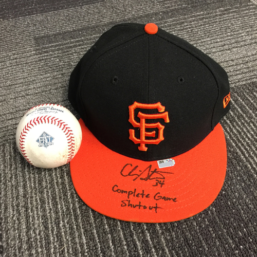Photo of 2018 San Francisco Giants - Autographed Game Used Cap & Game Used Baseball from Chris Strattons First Complete Game Shutout vs. Colorado Rockies on 9/14/18