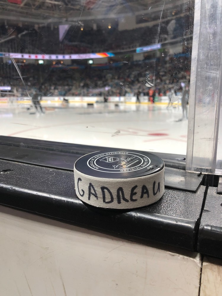 Johnny Gaudreau Calgary Flames Pacific Division Gatorade NHL Puck Control Event-Used Puck