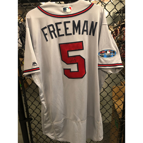 Photo of Freddie Freeman 2018 Game Used and Autographed Jersey