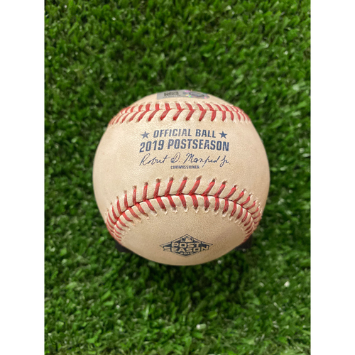 Photo of Game Used Baseball- Pitcher: Jack Flaherty, Batter: Ozzie Albies, Strikeout - 10/4/2019 NLDS Game 4