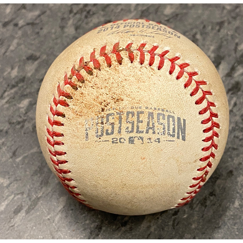 Photo of 2014 NLCS Game 3 Game Used Baseball used on 10/14 vs. St. Louis Cardinals - B-9: Seth Maness to Hunter Pence - Pitch in the Dirt
