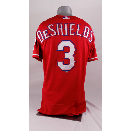 Photo of Final Season Game-Used Red Jersey - Delino Deshields - 3/30/19, 8/17/19