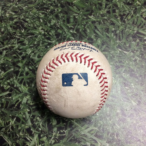 Photo of Game-Used Baseball COL@MIL 05/02/19 - Freddy Peralta - Trevor Story: Foul