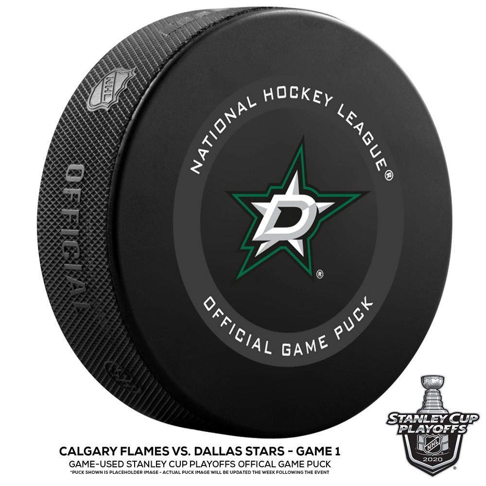 Dallas Stars vs. Calgary Flames Game-Used Puck from Game 1 of the First Round of the 2020 Stanley Cup Playoffs on August 11, 2020