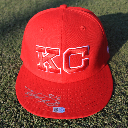 Photo of Autographed/Team-Issued Monarchs Cap: Edward Olivares #14 (STL @ KC 9/22/20)