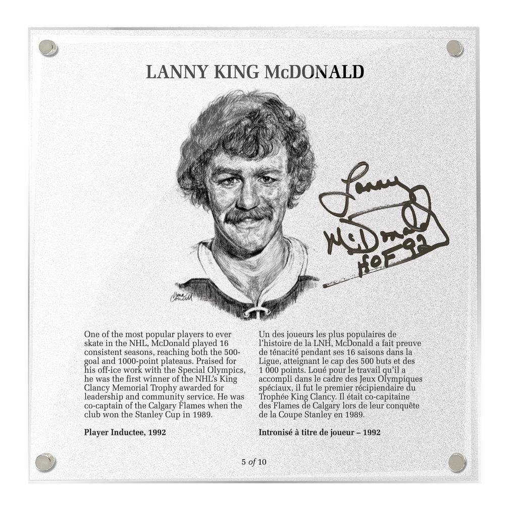 Lanny McDonald Autographed Legends Line Honoured Member Plaque - Limited Edition 5/10