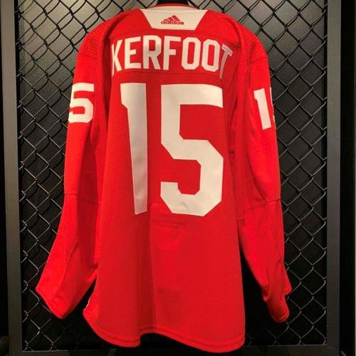 #15 Alex Kerfoot 2019-20 Worn Red Practice Jersey (Size 56)