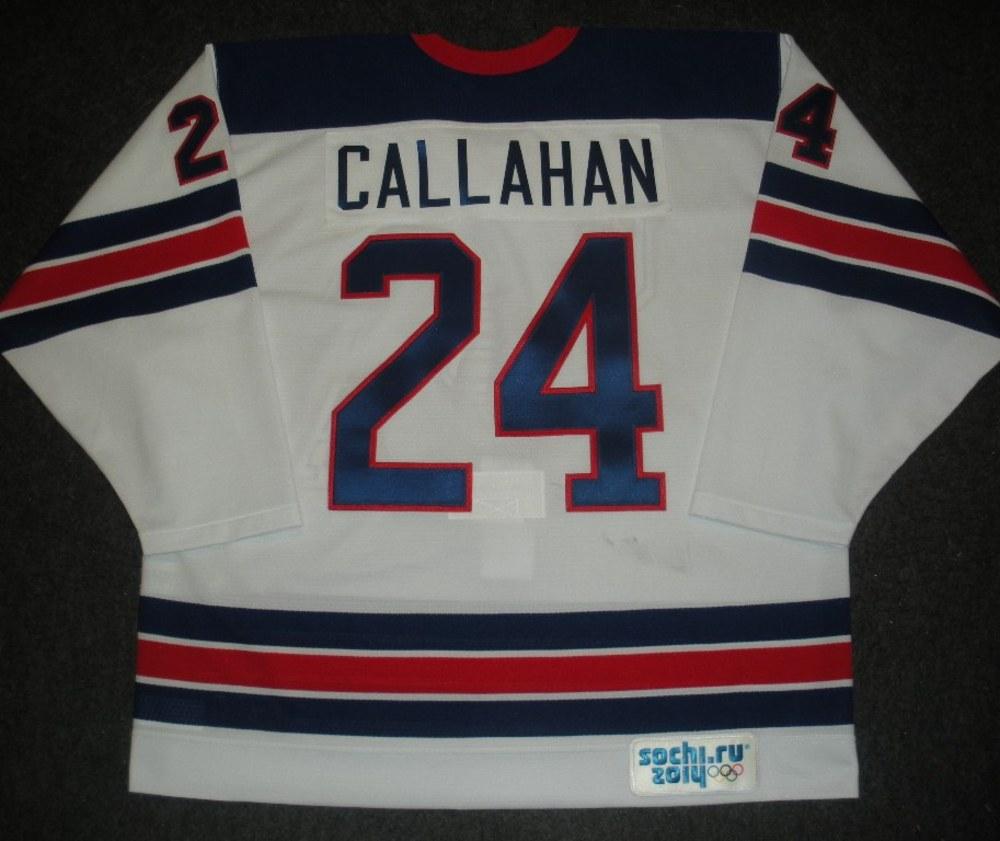 Ryan Callahan - Sochi 2014 - Winter Olympic Games - Team USA Throwback Game-Worn Jersey - Worn in Warmups and 1st Period vs. Slovenia, 2/16/14