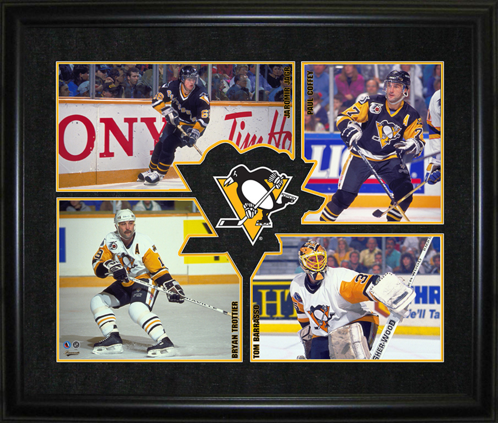 Pittsburgh Penguins - Unsigned 4-Player Logo HHOF Frame
