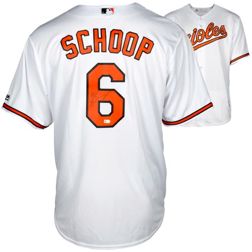 Photo of Jonathan Schoop Baltimore Orioles Autographed Majestic White Replica Jersey