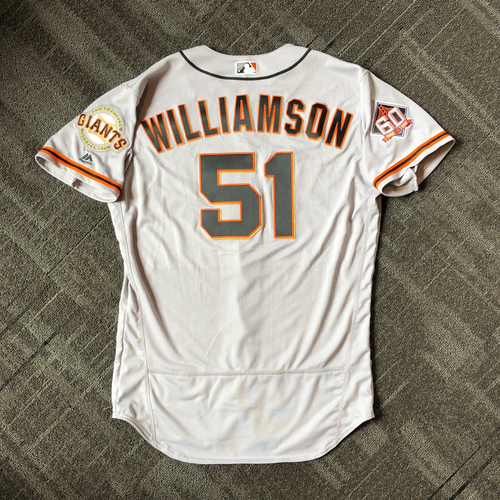 Photo of San Francisco Giants - Mother's Day Team-Issued Jersey - #51 Mac Williamson (size 46)
