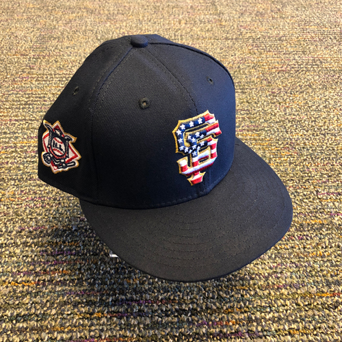 Photo of San Francisco Giants - 2018 Game-Used 4th of July Cap worn by #9 Brandon Belt - Size 7 1/8