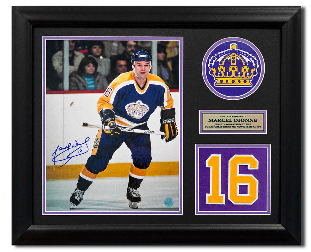 Marcel Dionne Los Angeles Kings Signed Retired Jersey Number 23x19 Frame