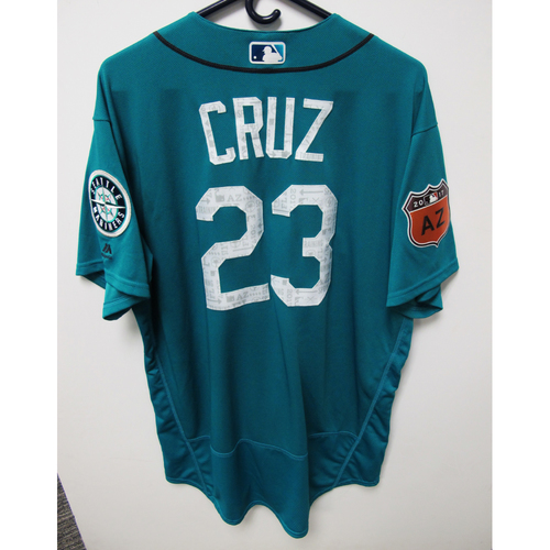Photo of Seattle Mariners Nelson Cruz Team Issued 2017 Spring Training Green Jersey