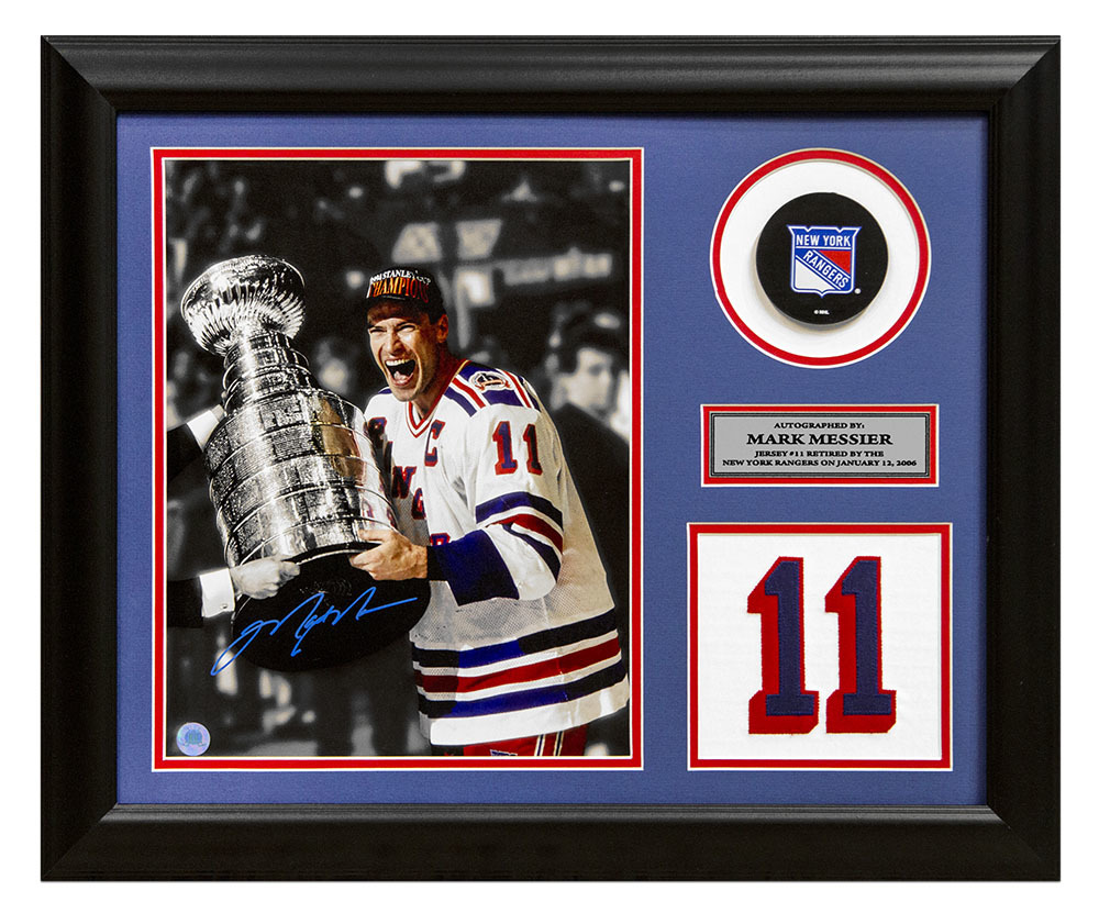 Mark Messier New York Rangers Autographed Retired Jersey Number 19x23 Frame