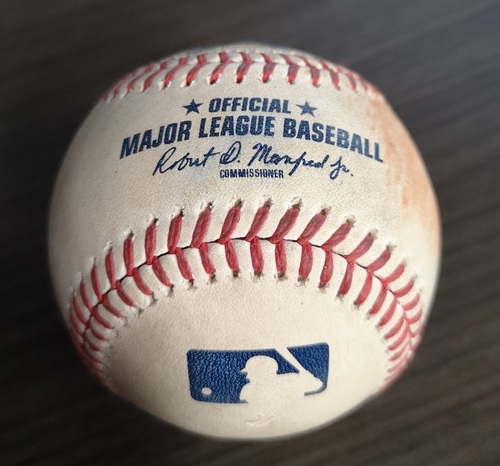 Photo of Authenticated Game Used Baseball: 2 RBI Double by Randal Grichuk against Travis Lakins (Sept 11, 19 vs BOS). Bottom 5.