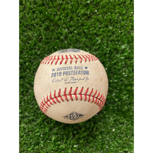 Photo of Game Used Baseball- Pitcher: Jack Flaherty, Batter: Freddie Freeman, Foul - 10/4/2019 NLDS Game 4
