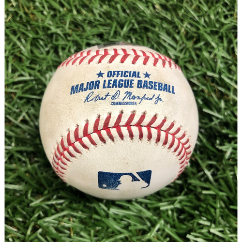 Photo of Game Used Baseball: Pat Valaika ground-rule double off Trevor Richards - August 26, 2020 v BAL