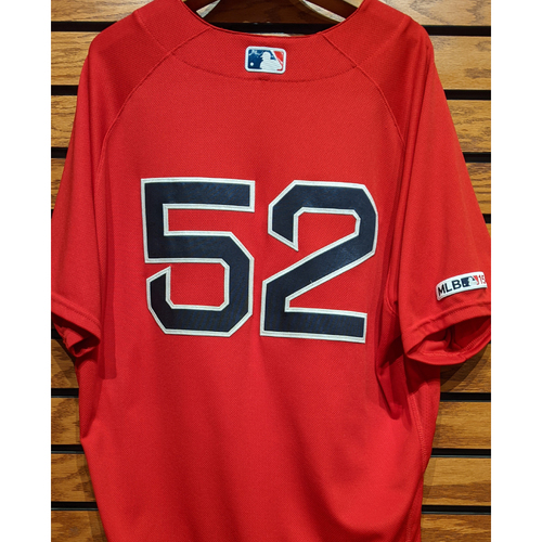 Photo of Coach Carlos Febles #52 Game Used Red Home Alternate Jersey