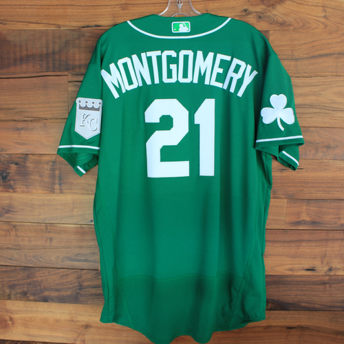 Photo of Team-Issued 2020 St. Patrick's Day Jersey: Mike Montgomery #21 - Size 48