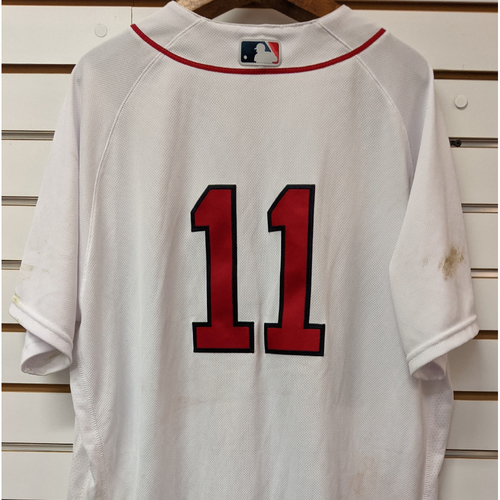 Photo of Rafael Devers #11 Game Used Opening Day Nike Home White Jersey