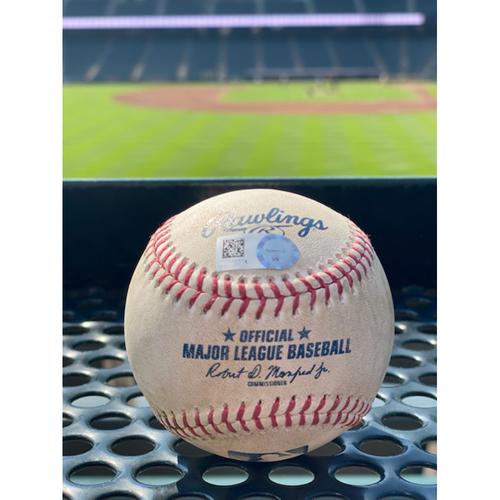 Photo of Game-Used Baseball - Pitcher: Kyle Freeland, Batter: Albert Pujols (Single to Charlie Blackmon) - July 17, 2021
