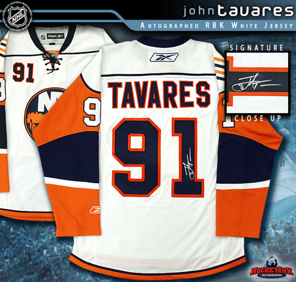 JOHN TAVARES Signed New York Islanders RBK White Jersey