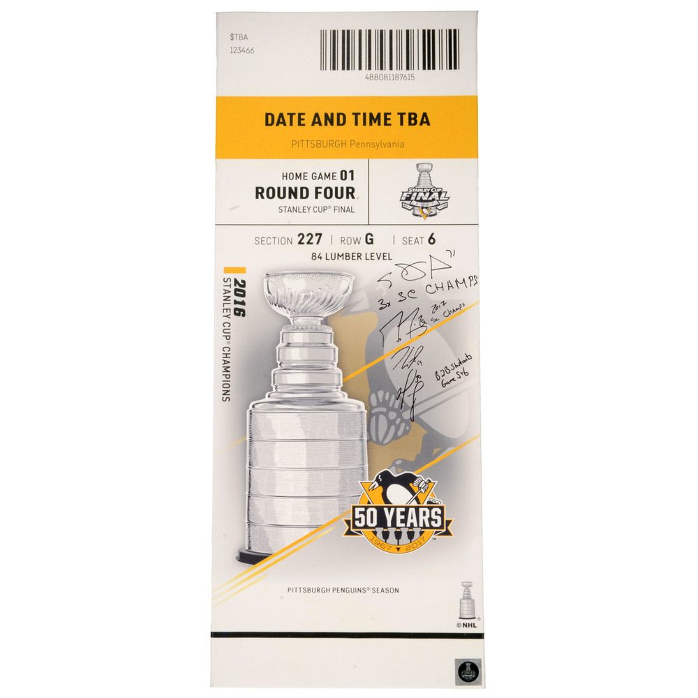 Pittsburgh Penguins Autographed 2017 Stanley Cup Final Game 1 Mega Ticket with Four Signatures and Multiple Inscriptions