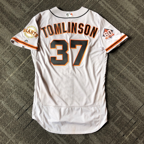 Photo of San Francisco Giants - Mother's Day Game-Used Jersey - #37 Kelby Tomlinson - 2-4 (size 44)